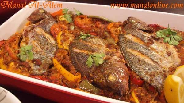 صينية سمك بلطي بالخضراوات