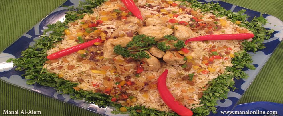 أرز مدخن بالدجاج والزعفران
